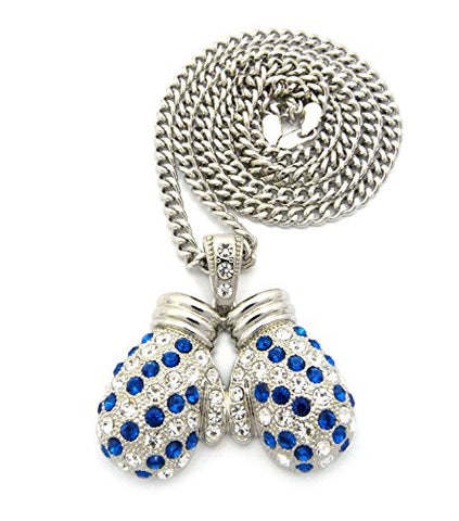 "Rhinestone Studded Boxing Gloves Pendant 6mm 36"" Cuban Link Chain Necklace - Blue/Silver-Tone"