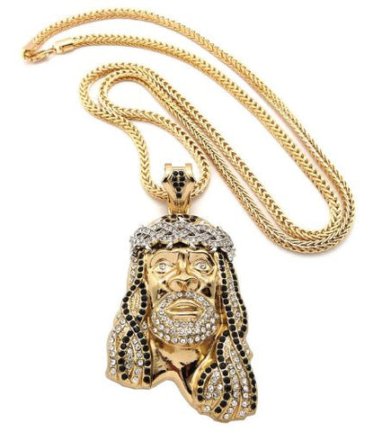 "Crown of Thorns Jesus Paved Pendant with 36"" Franco Chain Necklace - Black/Clear Gold-Tone MP449G-BKCR"