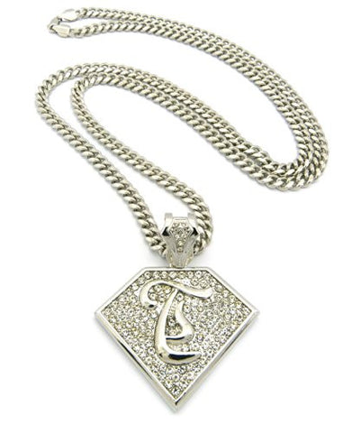 "Initial T Iced Out Rapper Pendant w/ 36"" Mami Cuban Chain - Silver Tone XP938RMC"