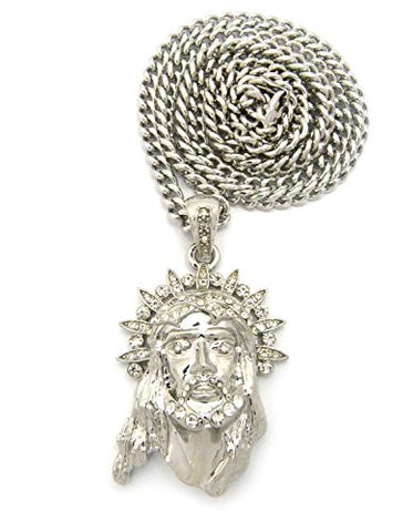 "Pave Halo Crown of Thorns Jesus Pendant Necklace with 6mm 36"" Cuban Link Chain - Silver-Tone"