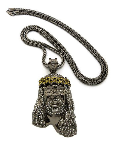 "Crown of Thorns Jesus Paved Pendant with 36"" Franco Chain Necklace - Hematite/Yellow-Tone MP449HE-HEYL"