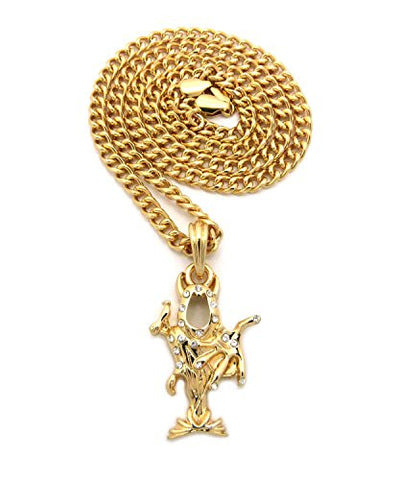 "The Wraith Shangri-La Stone Stud Pendant 5mm 24"" Cuban Link Chain Necklace in Gold-Tone"