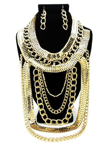 Gold Tone Assorted Chain Fashion Necklace w/ Chain Earrings DS1021GDCLR