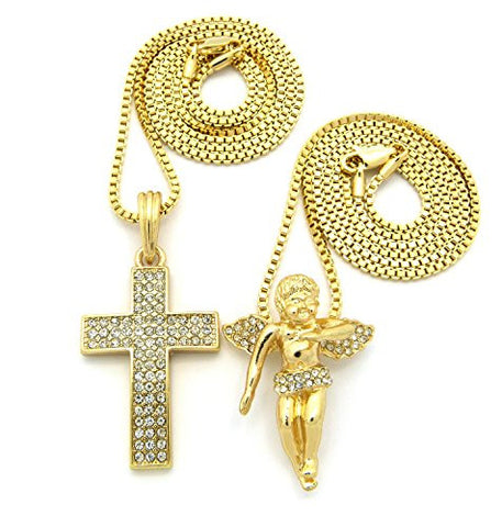 "3 Row Pave Cross & Float Cherub Pendant Set with 24"" 30"" Box Chain Necklaces"