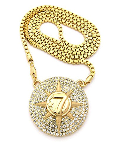 "Five Percent Nation Iced Out Star Pendant w/ 36"" Box Chain - Gold Tone XP929GBX"