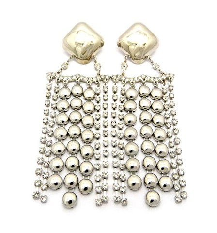 Wide Rhinestone Ball Chain Drop Earrings in Silver-Tone