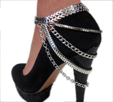 Stunning Multi Style Chain Silver Tone Adjustable Anklet Heel Chain IHN1000R