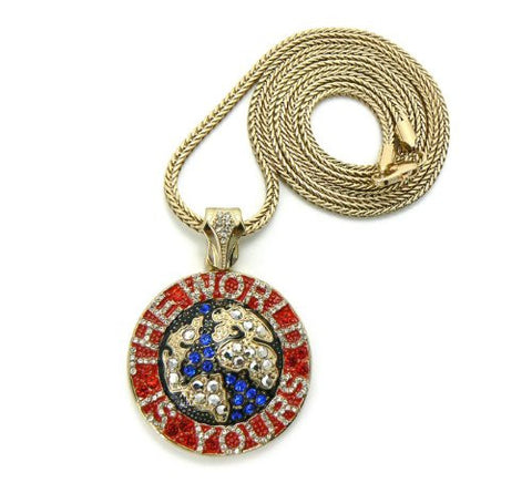 "WORLD IS YOURS Globe Pendant in Red/Blue Gold Tone w/36"" Franco Chain GAP20G"
