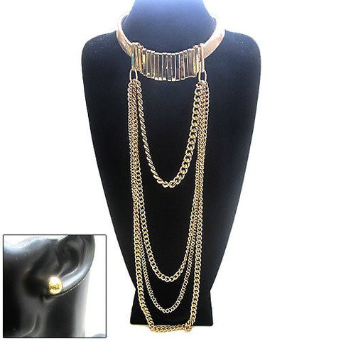 Chain Dangle Metal Choker Necklace with Ball Earrings Set