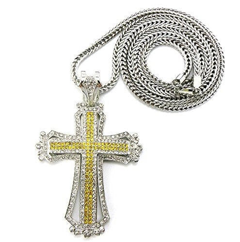 NYFASHION101 Medieval Style Cross Pendant with 36 Franco Chain Necklace
