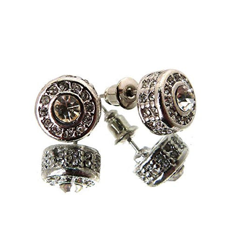 Iced Out Rhinestone Stud Earrings in Clear/Silver-Tone MER1033