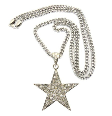 "Paved Star Pendant in Silver Tone w/ 6mm 36"" Miami Cuban Chain CP39R"