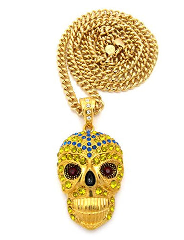 "Pave Skull Head Mask Pendant with 6mm 36"" Cuban Link Chain - Blue/Yellow/Gold-Tone"