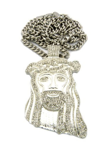 "Jesus Face Paved Flat Pendant w/ 36"" Cuban Link Chain - Silver Tone CP134R"