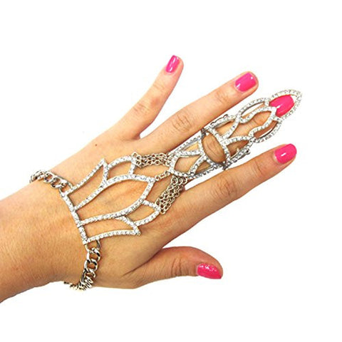 Pave Floral Design Bracelet Ring Set Hand Jewelry in Silver-Tone JB1039RDCLR