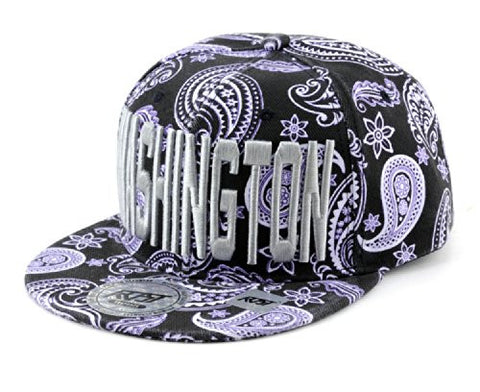 Washington Embroidered Paisley Printed Snapback Flat Bill Cap