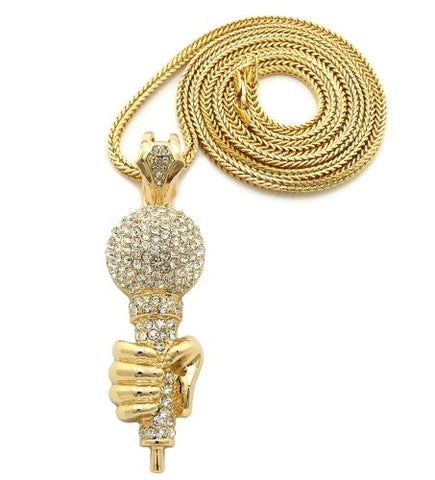 "Iced Out Microphone in Hand Pendant 3.5mm 36"" Franco Chain Necklace in Gold-Tone"