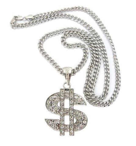 "Iced Out Dollar Sign $ Pendant in Silver Tone w/ 36"" Miami Cuban Chain CP67R"