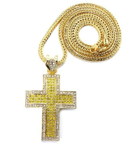 "Thick Carved Gold/Yellow Tone Iced Out Cross Pendant w/ 4mm 36"" Franco Chain"
