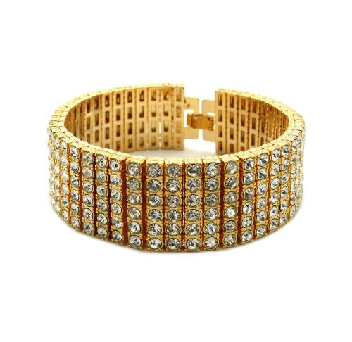 "Iced Out 6 Row Rhinestone Bracelet 8.25"" with Metal Clasp - Gold-Tone"