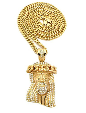 "Cuban Crown Stone Stud Jesus Head Pendant 6mm 36"" Miami Cuban Chain Necklace in Gold-Tone"