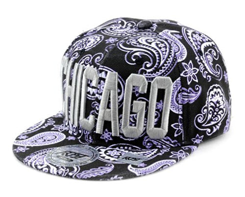 Chicago Embroidered Paisley Printed Snapback Flat Bill Cap