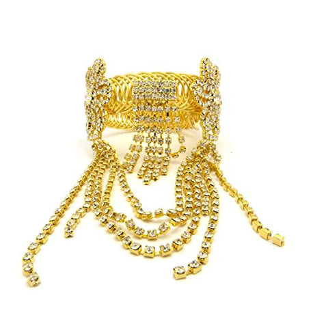 Floral Pattern Rhinestone Pave Arm Band, Ankle Cuff, Bracelet Fashion Jewelry in Gold-Tone
