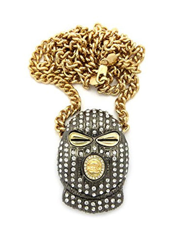 "Iced Out Ski Mask Goon Pendant Hematite-Tone 6mm 36"" Cuban Chain Necklace in Gold-Tone"