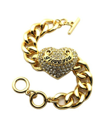 "I Love You Engraved Pave Heart Charm 7.5"" Bracelet in Gold-Tone"