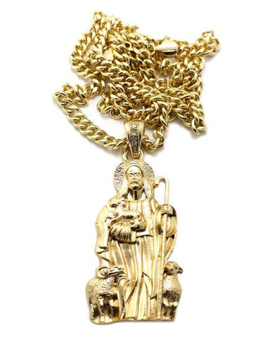 "Jesus and Lambs Pendant in Gold Tone w/ 36"" Miami Cuban Chain CP77G"