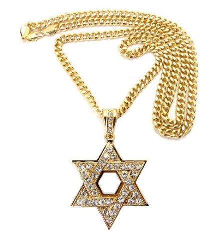"Hollow Iced Out Star of David Pendant with 6mm 36"" Miami Cuban Chain Necklace in Gold-Tone"