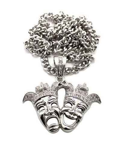 "Laugh Now Cry Later Clown Pendant in Silver Tone w/ 36"" Cuban Chain CP88R"