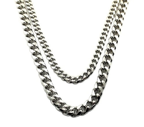 Hip Hop Rapper Look Multi-Length Two Chain Necklace Set in Silver-Tone
