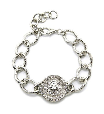 Pave Edge Lion Head Medal Charm Chain Bracelet in Silver-Tone HYBR-4R