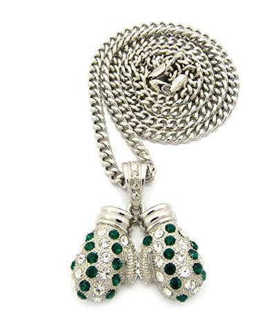 "Rhinestone Studded Boxing Gloves Pendant 6mm 36"" Cuban Link Chain Necklace - Green/Silver-Tone"