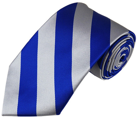 "Men's 3.5"" Regular College Stripe Woven Tie- DS Royal & Silver"