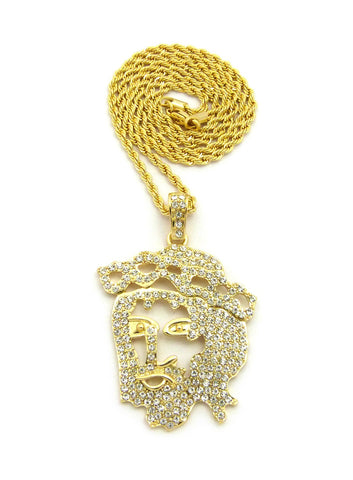 Stone Stud Hollow Jesus Face Pendant w/Chain Necklace, Gold-Tone