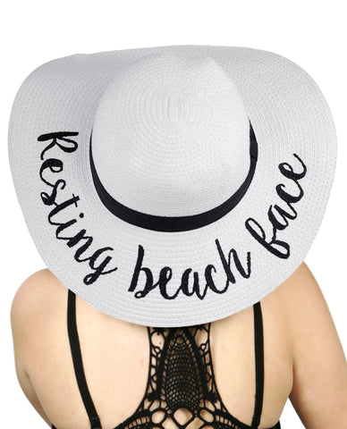 ... C.C Women s Paper Weaved Crushable Beach Embroidered Quote Floppy Brim Sun  Hat 032be9bbf57