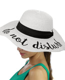 C.C Women's Paper Weaved Crushable Beach Embroidered Quote Floppy Brim Sun Hat, Do Not Disturb