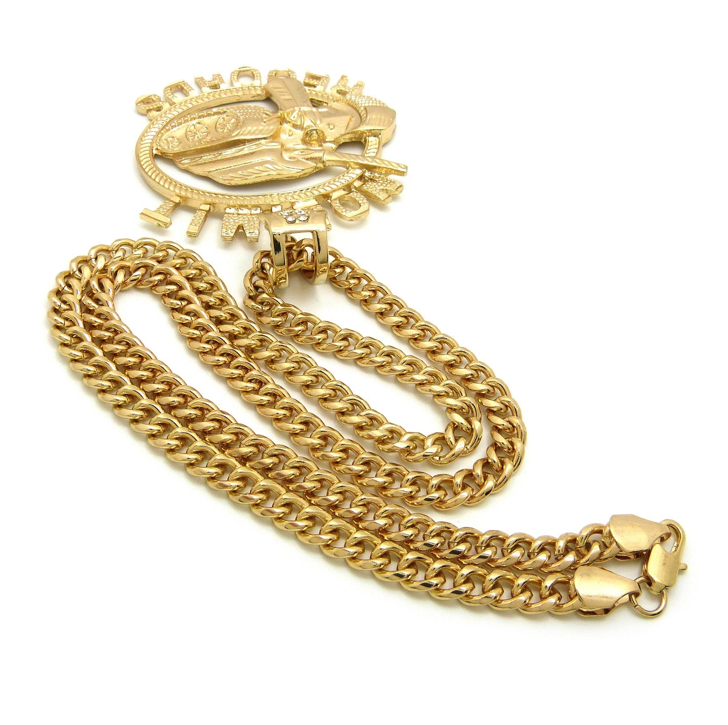 "No Limit Records Tank Hollow Pendant with  6mm 24"" Cuban Chain Necklace, Gold-Tone"