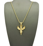Extended Wing Praying Halo Angel Pendant w/ Chain Necklace