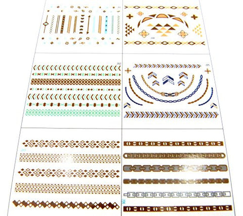 Celebrity Metallic Sticker Tattoo Pack- Set A