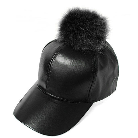 Fur Pom Pom Adjustable Snapback Faux Leather Precurved Baseball Cap
