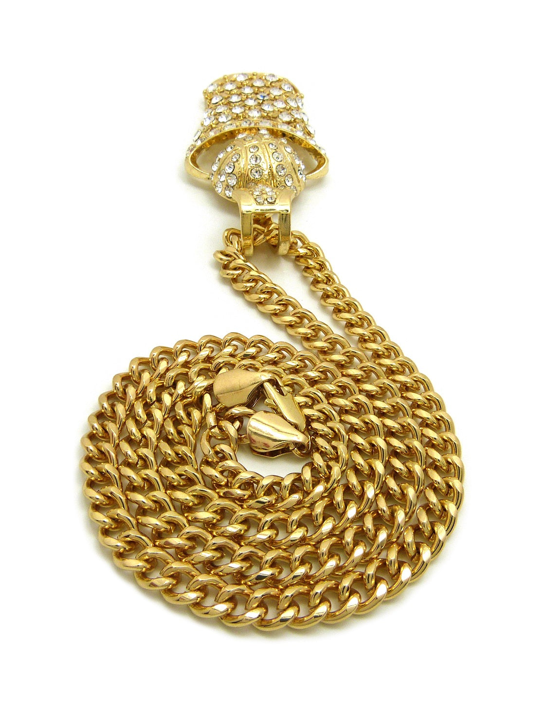 Stone Stud Hollow Basketball Net Pendant with 6mm Cuban Chain in Gold-Tone, 24""