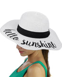 C.C Women's Paper Weaved Crushable Beach Embroidered Quote Floppy Brim Sun Hat, Hello Sunshine