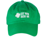 D&Y St. Patrick's Day Embroidered Quote Lucky Clover Low Profile Baseball Cap, Get Your Irish On