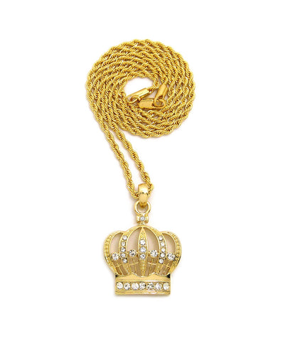 "Stone Stud Hollow Royal Crown Pendant with 2mm 24"" Rope Chain Necklace"