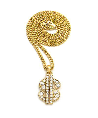 "Stone Stud Dollar Sign Micro Pendant with 3mm 24"" Cuban Chain Necklace, Gold-Tone"
