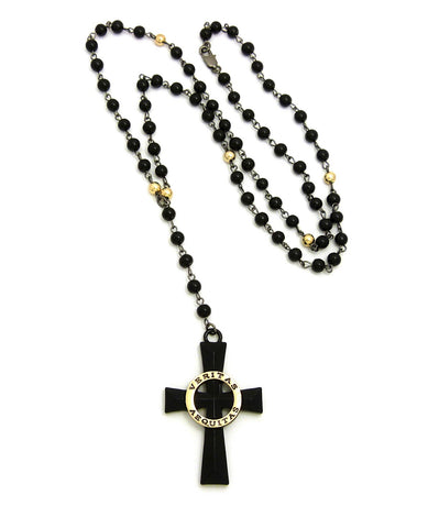 "Veritas Aequitas Cross Pendant with 6mm 30"" Black and Color Stone Bead Rosary Necklace"