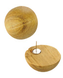 Women's Fashion Chic Wood Ball Stud Pierced Earrings
